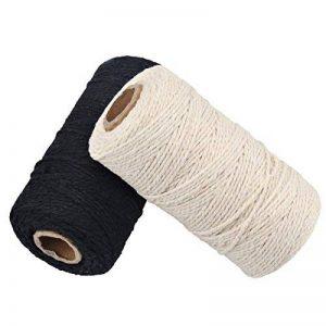 656 Pieds Bobine de Ficelle de Coton 10 plis Ficelle D'artisanat Pour Les Bricolages et Emballage Cadeau (noir+blanc) de la marque McFanBe image 0 produit