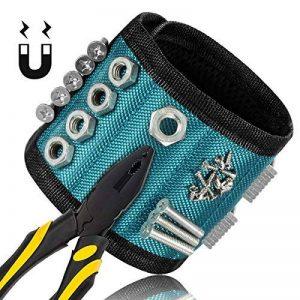 Bracelet Magnétique, Glunlun 15 Aimants Bracelet Magnétique avec 3x5 aimants forts pour vis de retenue, clous, forets Outils de maintien, vis, clous, boulons, forets et petits outils, clous et vis de la marque Glunlun image 0 produit