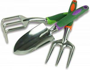 Coffret de trois outils de jardin : fourche, truelle et rateau de la marque Plant Theatre image 0 produit