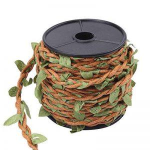 Corde en Jute pour Artisanat Scrapbooking Jardinage Corde avec des Feuilles Verts Artificielles de Décoration 10M un Rouleau (Corde de cire marron) de la marque Walfront image 0 produit
