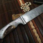 damas main couteau de chasse avec étui en cuir damas de la marque Perkin Knives image 1 produit