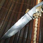 damas main couteau de chasse avec étui en cuir damas de la marque Perkin Knives image 2 produit