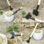 DingXinZM 3Pcs Mini Portable Outil de jardinage en métal tête Pelle Râteau Spade Garden Lot de poignée en bois Outil de survie pour camping en plein air de la marque DingXinZM image 2 produit