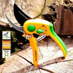 GRÜNTEK Sécateur FLAMANT ROSE avec lame enduite Téflon, Cisailles Sécateur de jardinage avec poignées ergonomiques antidérapantes, coupe Bypass. de la marque GRÜNTEK image 0 produit