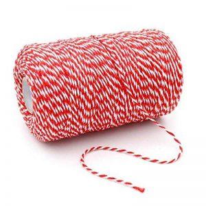 jijAcraft Ficelle de coton durable Idéale pour la pâtisserie, le jardinage, la boucherie, les travaux manuels, les emballages de cadeaux 200m 200M rouge/blanc de la marque jijAcraft image 0 produit