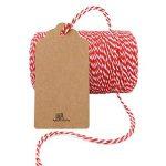 jijAcraft Ficelle de coton durable Idéale pour la pâtisserie, le jardinage, la boucherie, les travaux manuels, les emballages de cadeaux 200m 200M rouge/blanc de la marque jijAcraft image 2 produit