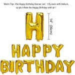 KUNGYO Joyeux Anniversaire Happy Birthday Lettres Ballon+Nombre Mylar Foil Ballon +24 pièces Noir Or Blanc Latex Ballon- Décoration de Fête D'anniversaire Parfaite de la marque KUNGYO image 1 produit
