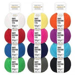 Mélange de couleurs 100 % coton - 600g (12 x 50g) - Laine certifiée Oeko-Tex Standard 100 pour le tricot & le crochet - Set de fil de coton avec 12 couleurs par fairwool de la marque fairwool image 0 produit