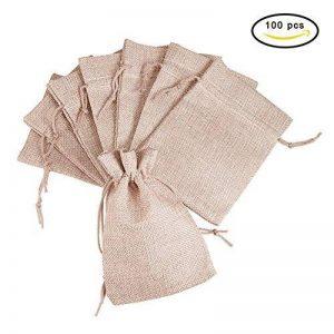 Pandahall - Lot de 100Pcs Pochettes/Sachets en Lin/Chanvre avec Cordon Couleur Jaune 18x13cm de la marque pandahall image 0 produit