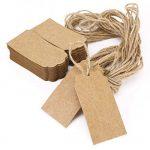 Pixnor 100pcs Kraft papier cadeau cadeau de Noël de Tags balises avec String mariage Rectangle brun Kraft Hang Tags Etiquettes de cadeaux de faveur Bonbonniere avec 10 mètres Long pour artisanat prix Tags étiquettes de la marque Pixnor image 2 produit