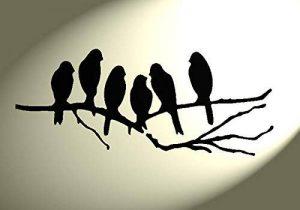 Pochoir Shabby Chic 6 oiseaux sur une branche rustique Vintage en Mylar A4 297 x 210 mm Décoration murale de la marque Solitarydesign image 0 produit