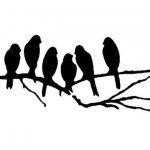 Pochoir Shabby Chic 6 oiseaux sur une branche rustique Vintage en Mylar A4 297 x 210 mm Décoration murale de la marque Solitarydesign image 1 produit