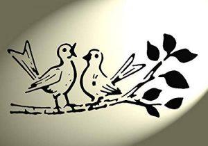 Pochoir Shabby Chic Motif oiseaux sur branche d'arbre chantant rustique Vintage en Mylar A4 297 x 210 mm Décoration murale de la marque Solitarydesign image 0 produit