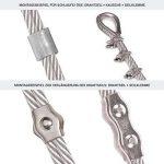 Stanke Corde Câble métallique galvanisé Câble en acier de 3 mm 6 x 7, 4 tendeurs M5 Crochet + anneau, 16 cosses, 16 pinces de serrage - Kit 6 de la marque Seilwerk STANKE image 1 produit