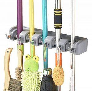 Support de Rangement Mural, Rixow Porte-Balai Mural, Multifonction Mop Ménages et Rack Broom avec 5 Emplacements et 6 Crochets Multi-Taches de la marque Rixow image 0 produit