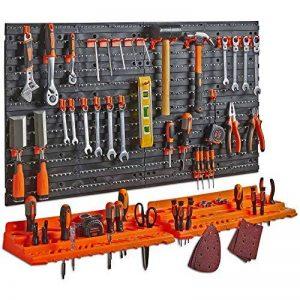 Tableau perforé + étagère pour organiser les outils VonHaus - Porte-outils mural de garage - Mural/Fixations, avec 50 crochets divers, parfait pour la maison, les abris de jardin, les ateliers ou les garages de la marque Vonhaus image 0 produit
