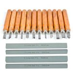 TIMESETL Outils de gravure 12pcs Ciseaux à Bois en acier carbone SK2 manches en bois avec 4pcs Pierres à aiguiser pour Sculpteur, Charpentier, Amateur de la marque TIMESETL image 1 produit