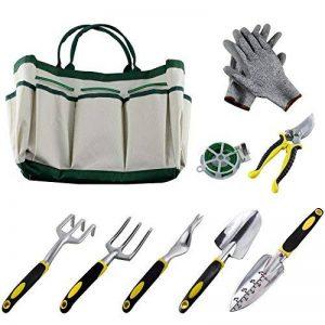 Ucharge 9 pièces jardin outil ensemble comprend un sac d'outils de jardinage, une paire de gants de travail, 6 têtes d'aluminium fonte lourde avec poignées ergonomiques et d'une corde de plante de la marque Ucharge image 0 produit
