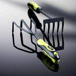 Xclou Râteau à main jaune et noir - Râteau à fleurs avec manche ergonomique - Petit râteau de jardin à 5 dents - Outil de jardinage multifonctions de la marque Xclou image 3 produit